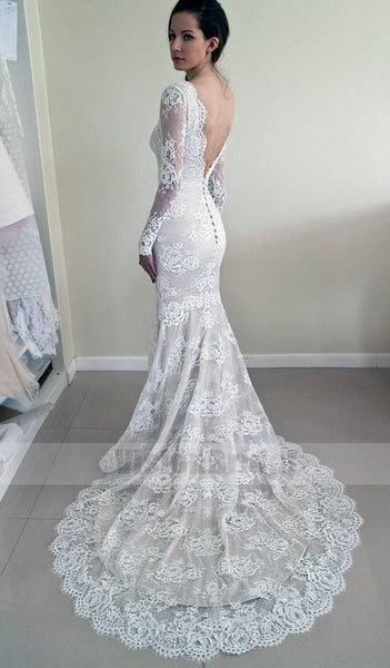 Alluring Scoop Neckline Long Sleeves Lace Mermaid Wedding Dress, Unique Open Back Wedding Dress With Trailing, Wedding Dresses, VB0653