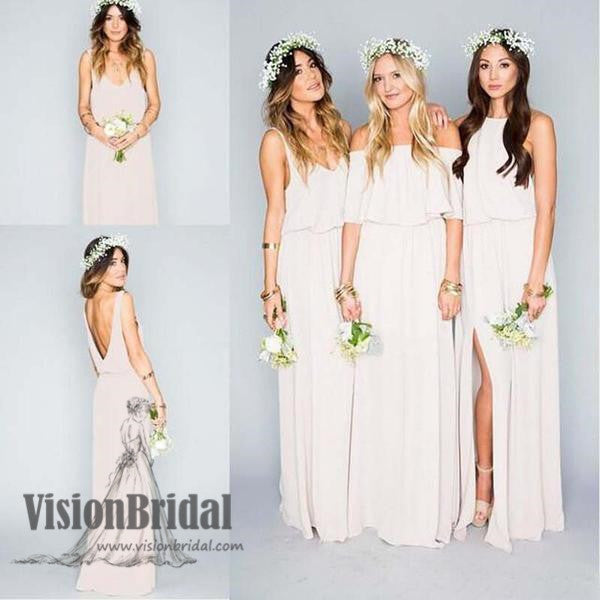 Pretty Young Junior Mint Mismatched Different Styles Side Split Chiffon Cheap Long Bridesmaid Dresses, VB0308 - Visionbridal
