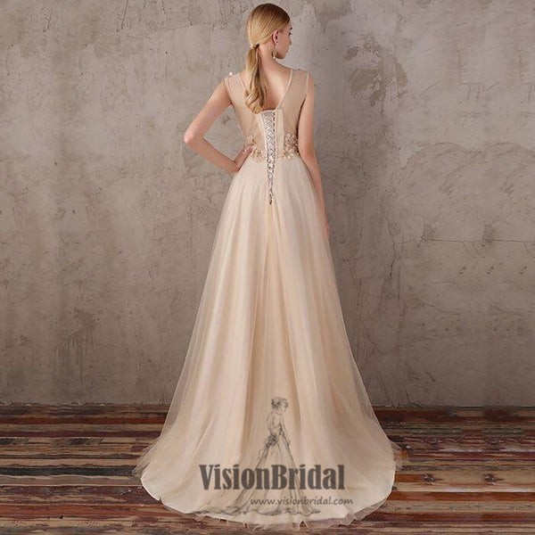 2018 New Arrival V-neck Lace Up Flower Appliques A-line floor-length tulle evening Dress, Long prom dresses,VB0389 - Visionbridal