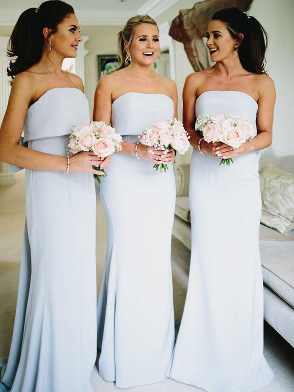 Modest Straight Neckline Backless Column With Bow, Beautiful And Charming Bridesmaid Dress, VB0476 - Visionbridal