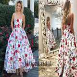 2018 Newest Sweetheart Sleeveless Flower Printed A-Line Floor Length Prom Dress, Prom Dresses, VB0332 - Visionbridal