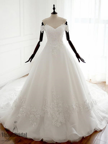 Charming Off Shoulder Sweetheart A-line Lace Long Custom Inexpensive Wedding Bridal Dresses, Princess Wedding Dress, VB0680