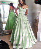 Off shoulder Beading Prom Dress, Satin Prom Dress, Charming Prom Dress, Floor Length Party Prom Dress, VB070 - Visionbridal