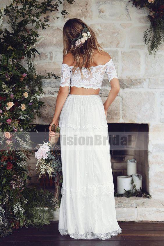 Elegant Two Pieces Off The Shoulder Half Sleeves A-Line Long Lace Wedding Dress, Wedding Dresses, VB0694