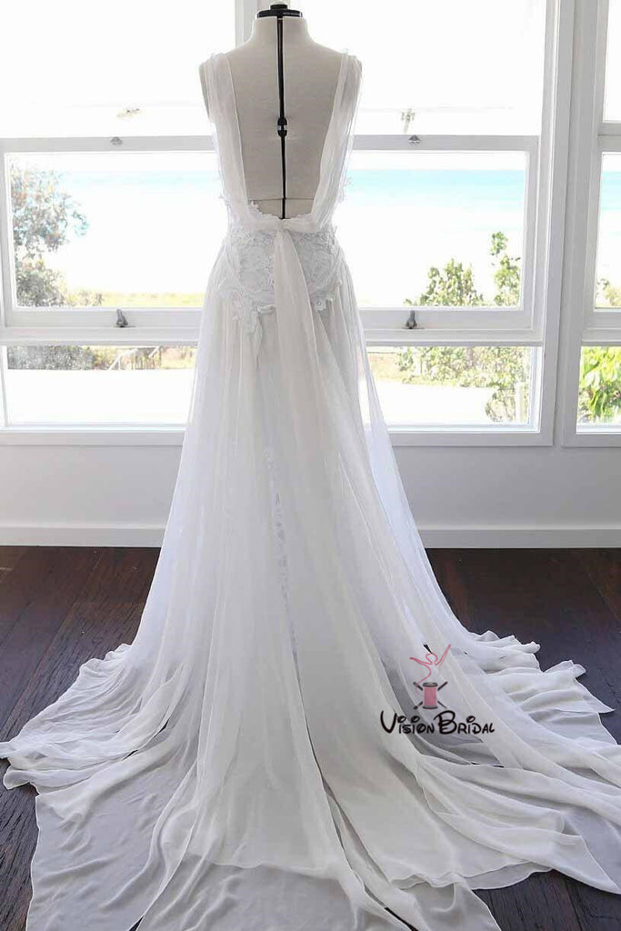 Beach Spaghetti Straps Long A-Line Side Slit Tulle Wedding Dresses With Trailing, Wedding Dresses, VB01625