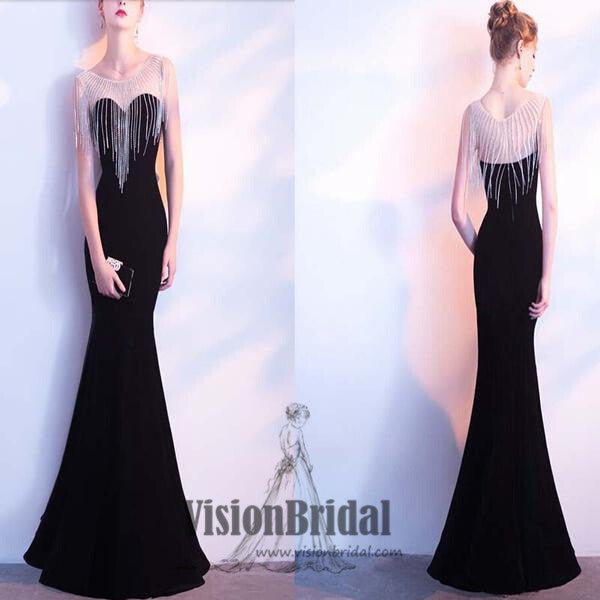 Illusion Neckline Black Mermaid Prom Dress, Sexy Tassel Prom Dress, Affordable Prom Dress, Prom Dresses, VB0200 - Visionbridal