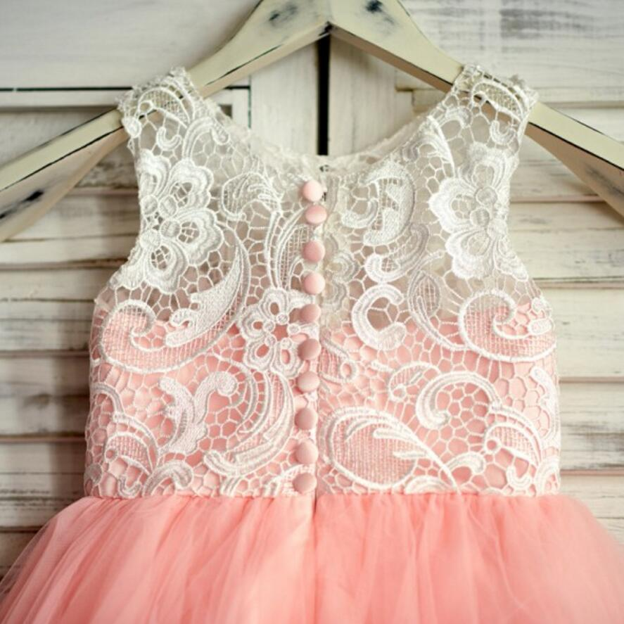 Pink Top Lace Sleeveless Lovely Short Soft Covered Button Flower Girl Dresses, Junior Bridesmaid Dresses, VB0640