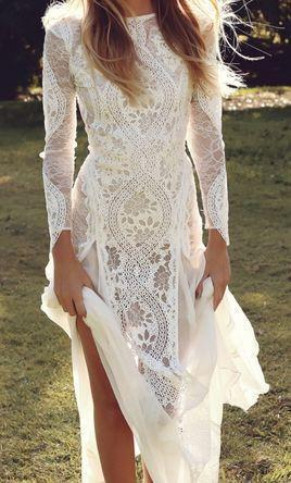 Boho Style Column Bateau Neckline Lace Wedding Dress, Long Sleeve Wedding Dress, VB02249