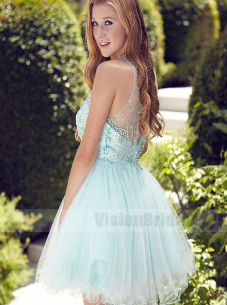 Glamorous A-line Scoop Short/Mini Mint Zipper-up Organza Homecoming Dress With Beading Ruched, Homecoming Dresses, VB0750
