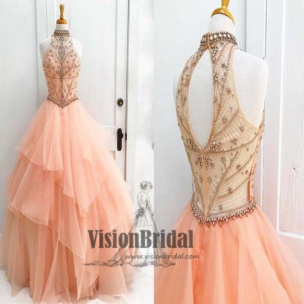 Pearl Pink Halter With Beaded Ball Gown Prom Dress, Sleeveless Open Back Long Prom Dress, Prom Dresses, VB0232 - Visionbridal