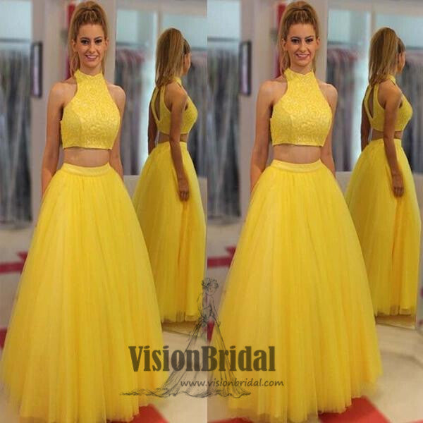 Yellow Halter Sleeveless Two Pieces Floor Length Prom Dress, Beautiful Prom Dresses, VB0276 - Visionbridal