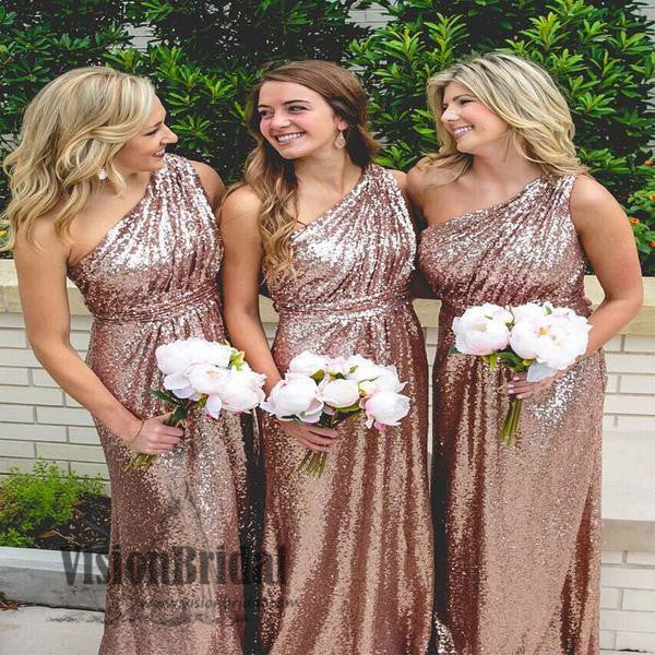 Sequin One Shoulder A-Line Floor Length Bridesmaid Dress, Shiny Bridesmaid Dresses, VB0313 - Visionbridal