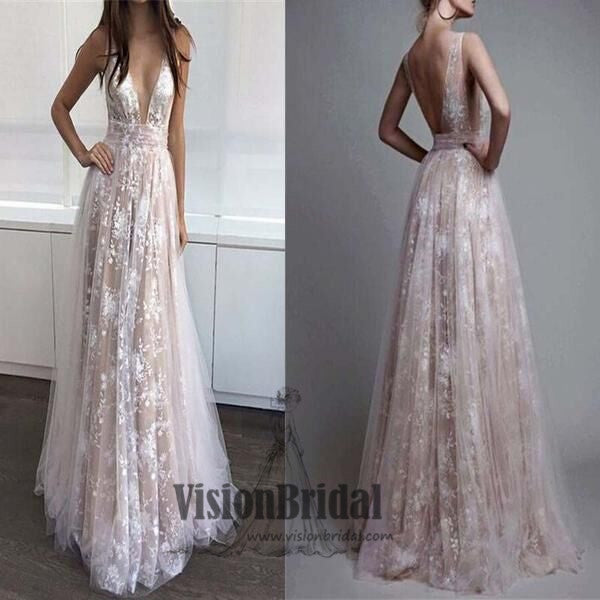 Deep V-Neck Lace Embroidery Tulle With Sequin Petticoat Long Prom Dress, Prom Dresses, VB0269 - Visionbridal