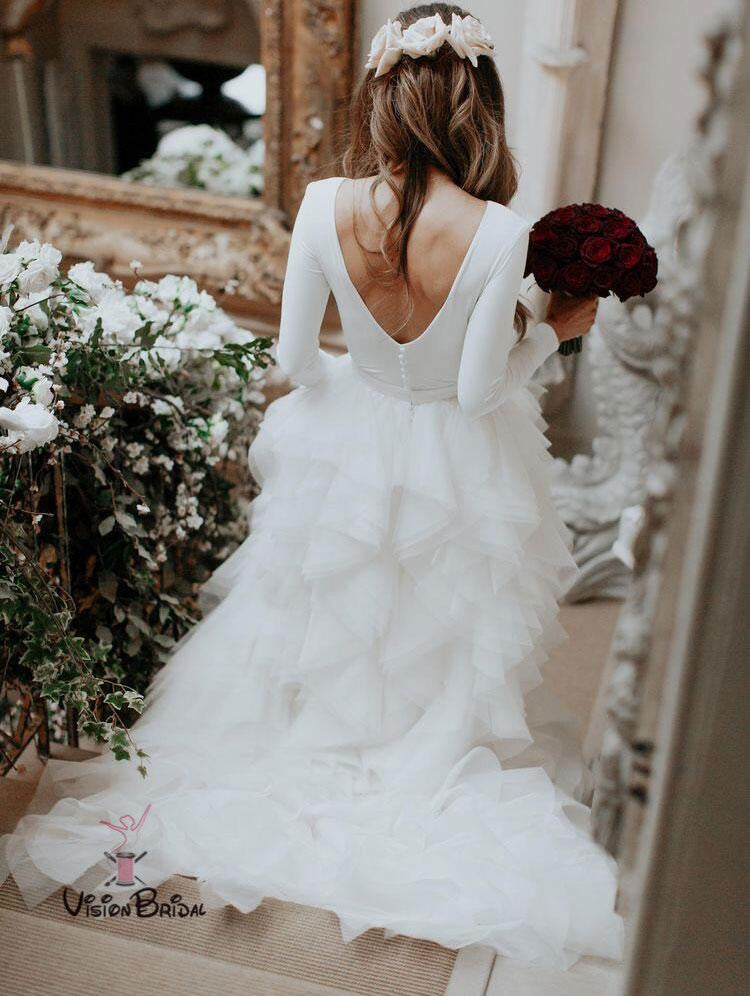 Simple Pure White Scoop Neckline Long Sleeves Open Back Cupcake Wedding Dresses, Wedding Dresses, VB01318