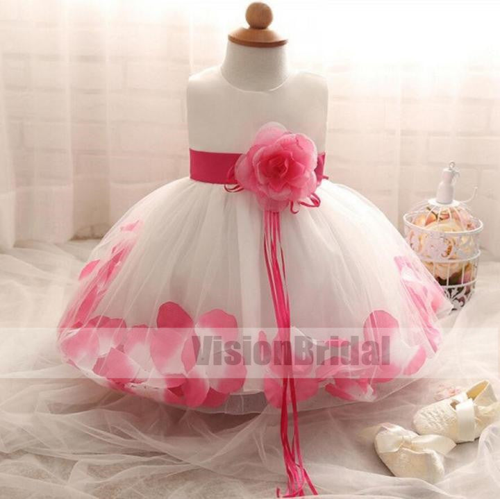 Charming Hand-Made Lovely Flower Girl Dresses, Wedding Cheap Little Girl Dresses With Flower Sash, VB0813