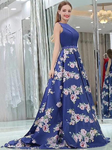 Blue Scoop Neckline Sleeveless Open Back With Beaded A-Line Flower Printed Long Prom Dress, Prom Dress, VB0371 - Visionbridal
