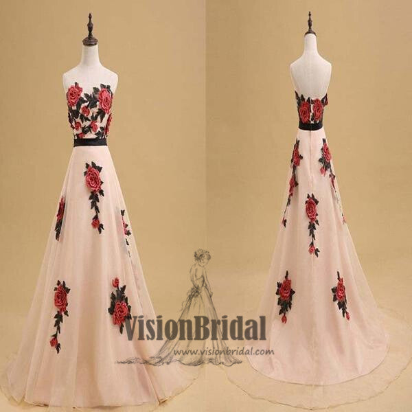 2018 Newest Sweetheart Open Back Flower Applique A-Line Floor Length Prom Dress, Prom Dresses, VB0334 - Visionbridal