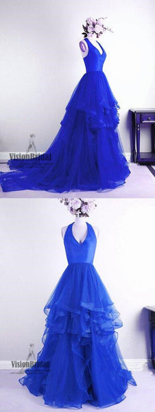 Beautiful Halter Top Satin Princess Asymmetrical Organza Prom Dress, Stunning Prom Dress, VB0467 - Visionbridal