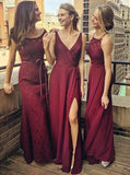 2018 Burgundy Mismatched Beautiful Floor Length Bridesmaid Dress, Wedding Party Dresses, VB0394 - Visionbridal