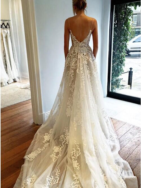 Alluring Spaghetti Straps Long A-Line Wedding Dresses With Lace Appliques, VB02846