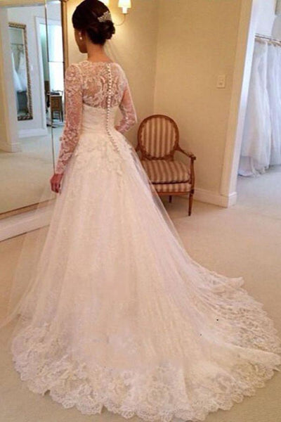 Elegant V-Neck Long Sleeve Long A-Line Wedding Dresses, Lace Wedding Dresses, VB02256