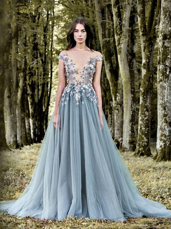Alluring See Through Long A-Line Tulle Prom Dresses With Flower Appliques, Prom Dresses, VB01518