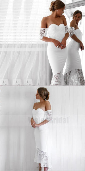 Charming Sexy Modest Cheap Mermaid Sweetheart Off Shoulder White Bridesmaid Dresses with Lace, Bridesmaid Dresses, VB0734