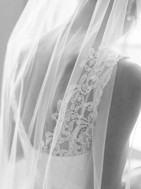 Pretty  Illusion Lace Top V-Back A-Line Tulle Wedding Dresses, Simple Cheap Wedding Dresses, VB01147