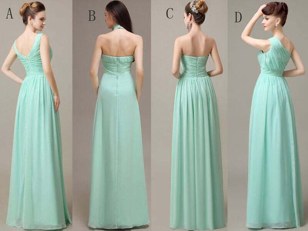 Mint Green Mismatched Pleating Chiffon Bridesmaid Dresses, A-Line Floor Length Bridesmaid Dresses, VB0307 - Visionbridal