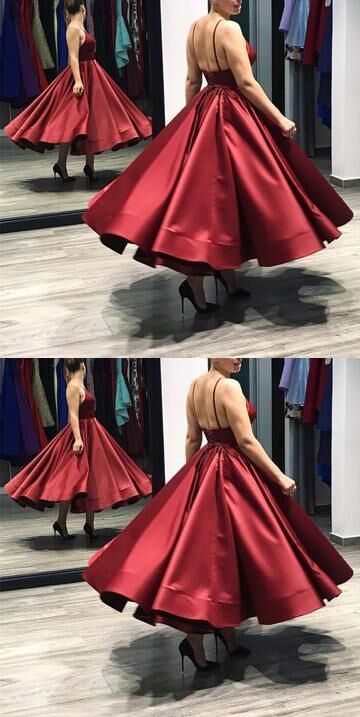 Red Spaghetti Straps Lace Up A-Line Satin Prom Dress, Charming Party Dress, Prom Dresses, VB0242 - Visionbridal