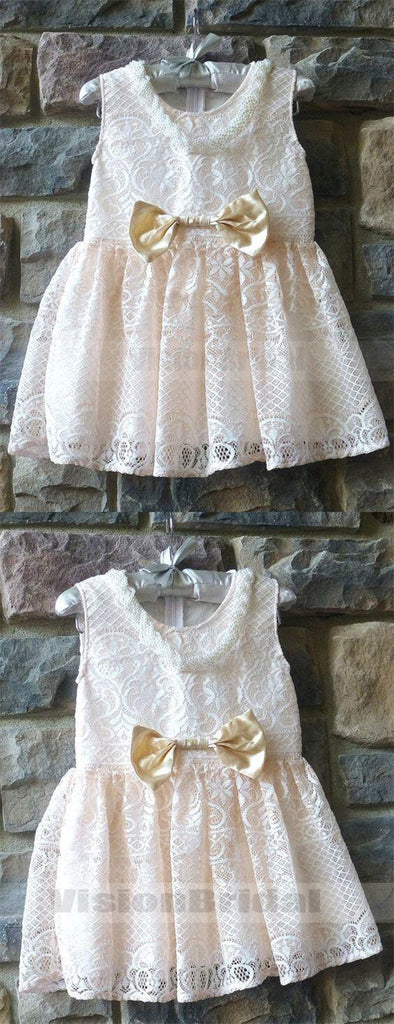 Sweet Light Champagne Lace Flower Girl Dress With Bow-Knot, Cute Flower Girl Dresses, VB0799