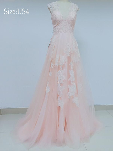 Sweet Pink V-Neck Cap Sleeve Lace Prom Dresss_US4, SP007