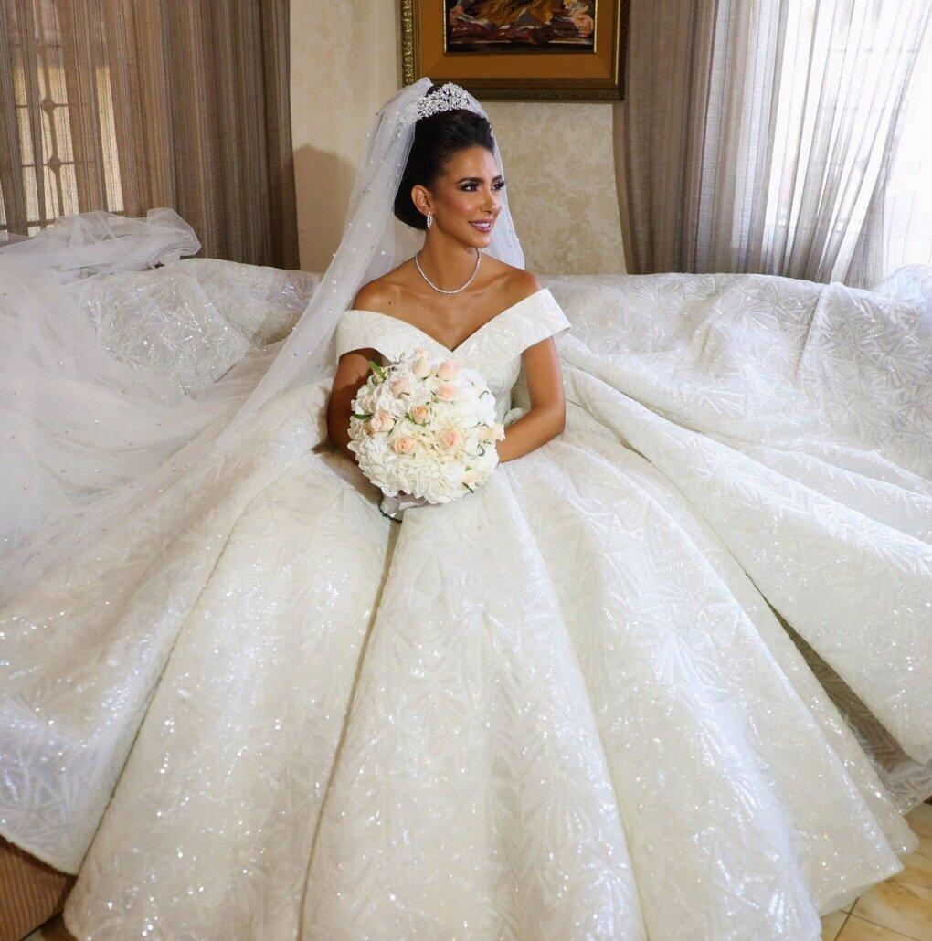 Gorgeous Off Shoulder V-Back Long Real Made Free Custom Wedding Gown ...