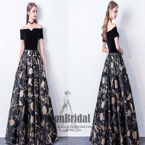 37d5f227c7f43 Black Off The Shoulder Flower Printed Lace Up Floor Length Prom Dress,  Party Prom Dress