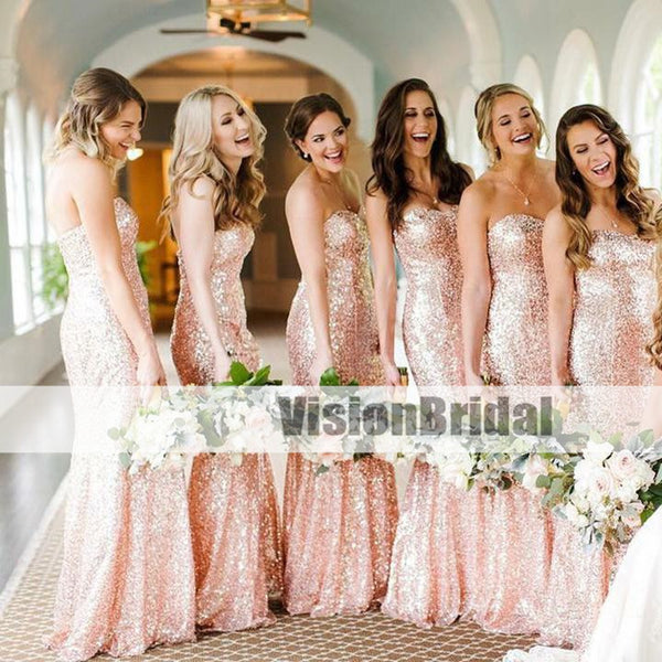 Mermaid Sparkly Newest Rose Gold Bridesmaid Dresses, Sweetheart Bridesmaid Dresses, Long Bridesmaid Dresses, VB0899