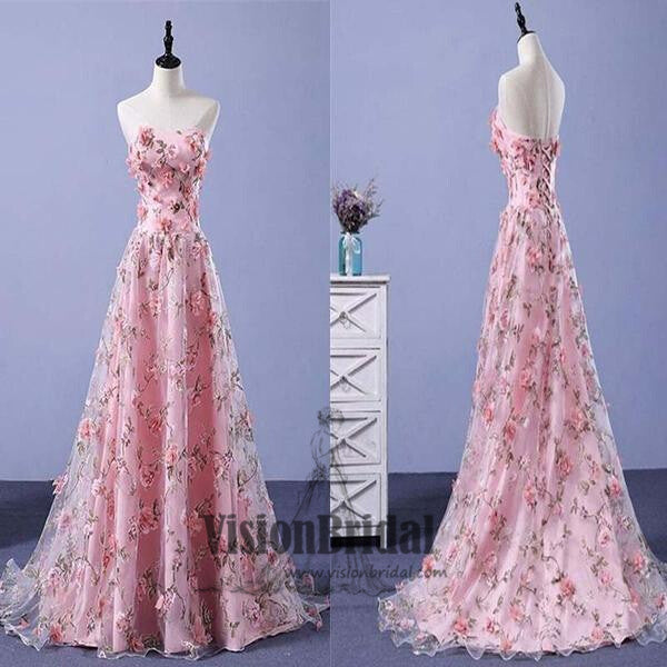 3f031c553e2 Pink Sweetheart Flower Applique Tulle A-Line Floor Length Prom Dress ...