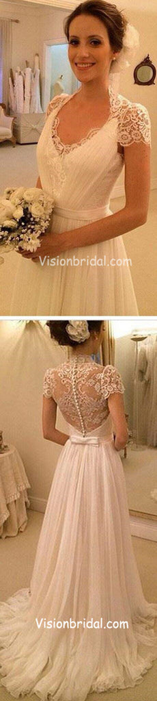 Elegant Cap Sleeve High Neck See Through Lace Top Wedding Dresses, Covered Button Sheath Cheap Wedding Dresses, VB01008