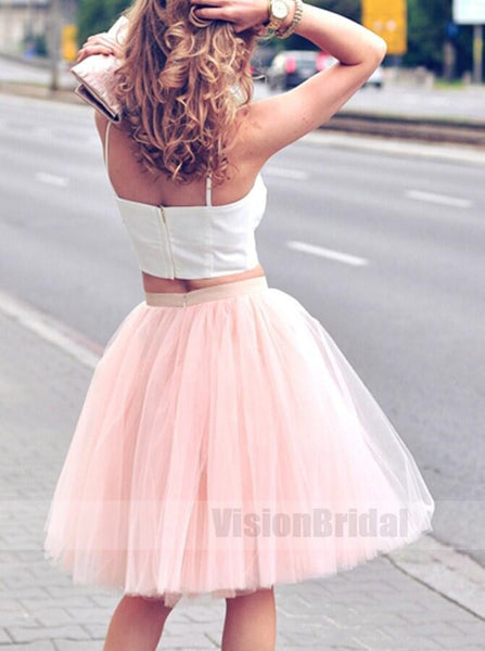 Charming Two Piece A-Line Pink Tull Short Homecoming Dress, Cheap Homecoming Dress Under 100, VB0751