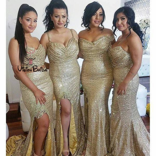 Shinny Mismatched Sequin Mermaid Bridesmaid Dresses With Side-Slit, Bridesmaid Dresses, VB01475