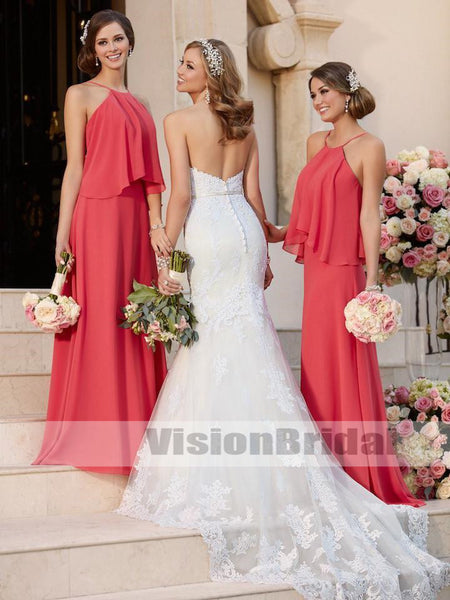 Cheap Halter Pregnant Chiffon Custom Long Bridesmaid Dresses, Bridesmaid Dresses, VB0449