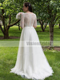 Lovely Scoop Neckline Half Sleeves Lace Top With Beaded A-Line Tulle Long Wedding Dress, Wedding Dresses, VB0263