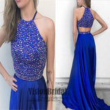 High Neck Top Beading Soft Satin Prom Dress, Sleeveless With Trailing Royal Blue Prom Dress, VB081 - Visionbridal