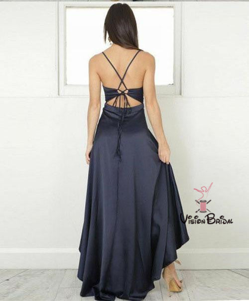 Simple Navy Blue Spaghetti Straps Asymmetrical Prom Dresses, Prom Dresses, VB01736