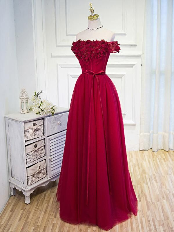 Red Off The Shoulder Applique With Beaded A-Line Prom Dress, Lace Up Prom Dress With Ribbon, Prom Dresses, VB0241 - Visionbridal
