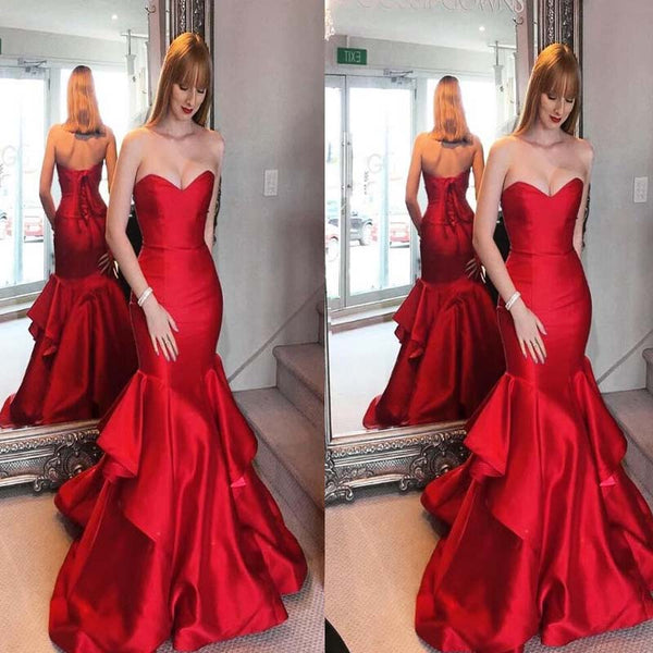 Red Sweetheart Mermaid Prom Dress, Open Back Prom Dress, Charming Prom Dress, Prom Dresses, VB0221 - Visionbridal