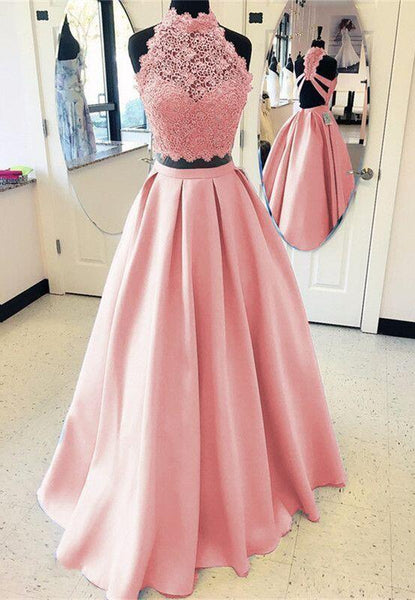 Beautiful Halter Lace Top A-Line Satin Long Prom Dress, Prom Dresses, VB0422 - Visionbridal