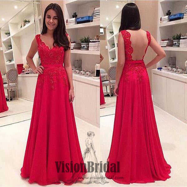 Red Lace Rhinestone Open Back Prom Dress, A-Line Chiffon Floor Length Prom Dress, Prom Dresses, VB0216 - Visionbridal