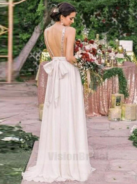 Shinny Top Sequin V-Neck Open Back Long Chiffon Bridesmaid Dresses With Bow-Knot, Bridesmaid Dresses, VB0769