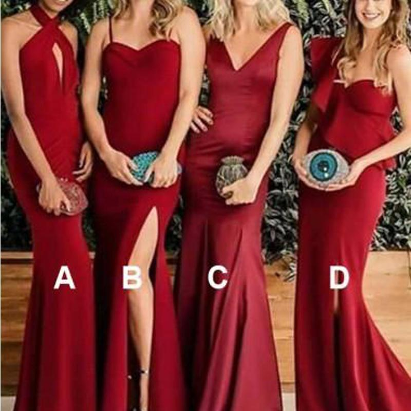 Burgundy Mermaid Long Mismatched Cheap Bridesmaid Dresses Online, VB01054