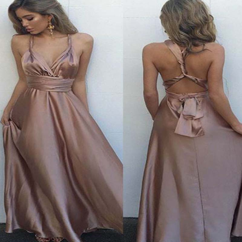 Spaghetti Cross Back Prom Dress, Floor Length Satin Prom Dress With Ribbon, Charming And Comfortable Prom Dress, VB0218 - Visionbridal